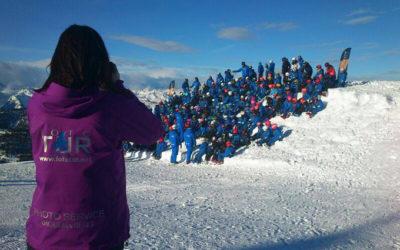Visite en images effectue traditionnelle photo de groupe de Camp Ski